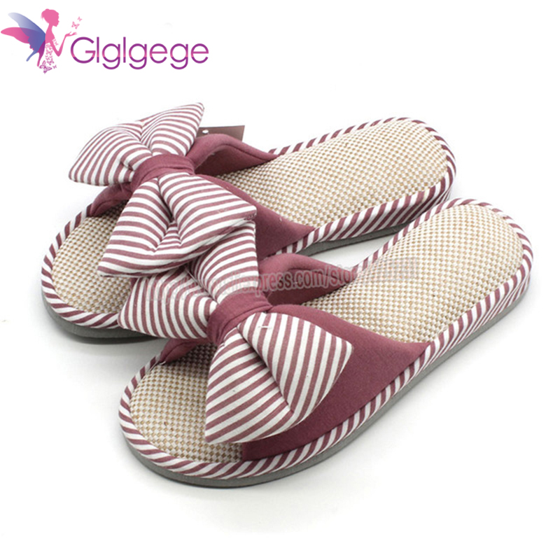Cheap Glglgege Women Summer Casual Slides Comfortable Flax Slippers Striped Bow Linen Flip Flops Platform Sandals Ladies Indoor Shoes