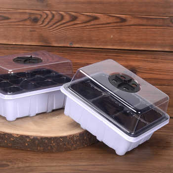 10Pcs/set 6 Holes Adjustable Hole Nursery Tray Seedling Box Plants Grow Kit with Water Tray and Breathable Hole