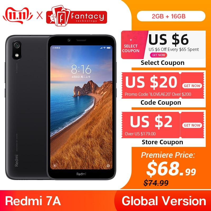 "Global Version Xiaomi Redmi 7A 7 A 2GB 16GB 5.45"" Snapdargon 439 Octa Core Mobile Phone 4000mAh Battery 12MP Camera"