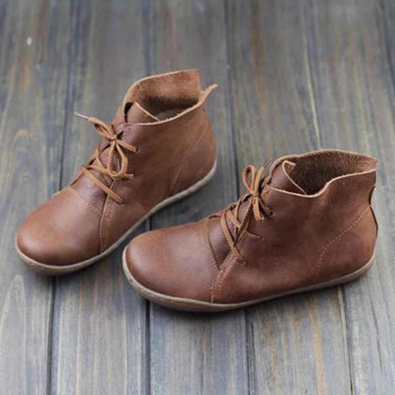 Kadın hakiki deri yarım çizmeler bayanlar Retro ayakkabı kadın Flats Lace Up hafif yumuşak alt dikiş kadın ayakkabısı