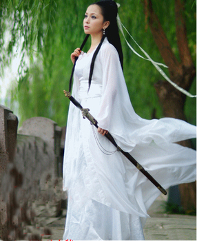 Costume Fairy Ancient Chinese Womens Hanfu Dress Tang Long Sleeve Solid Set Red White Pink D67
