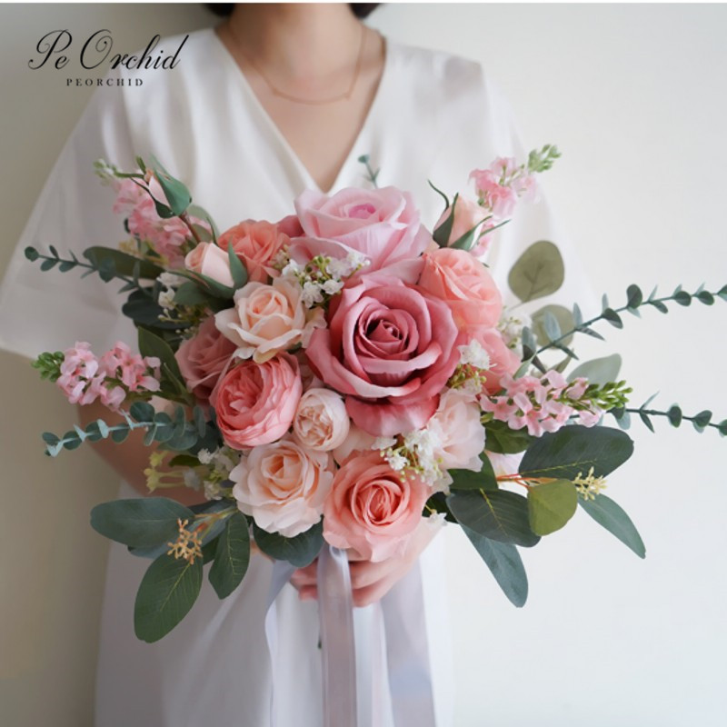 PEORCHID Artifical Dusty Pink Wedding Bouquets Romantic Peonies Bridal Handmade Silk Rose Brides Hand Holding Flowers Vintage