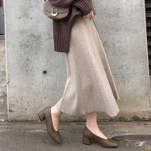 Image 3 - 2019 Winter Women Midi Skirts Korean Casual Ladies A line Flare High Waist Solid Knitted Knit Thick Long Sweater Skirt Women
