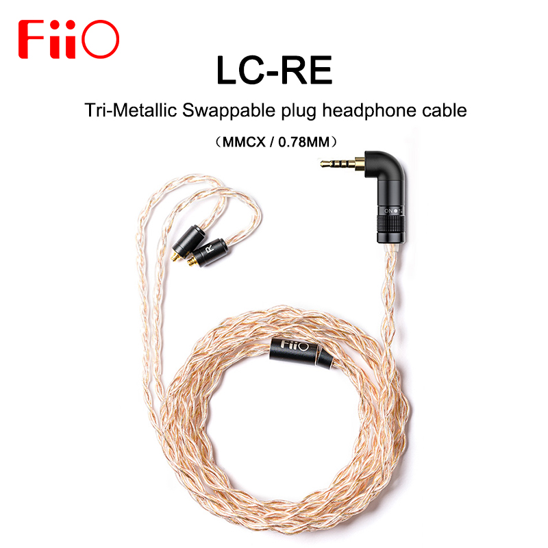 FiiO LC RE LC RE Tri Metallic Swappable plug headphone cable MMCX/0.78mm,Include 3plugs 3.5SE 2.5Balanced 4.4Balanced,for FH7Earphone Accessories   -