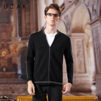 Suéter Chaqueta de punto de lana marca UCAK para hombres 2020 nueva moda Casual Streetwear primavera otoño llegada Pull Homme Sweatercoat U1046