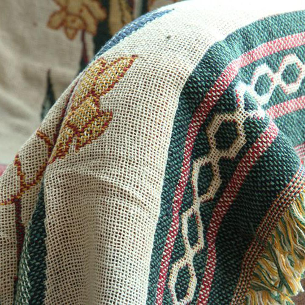 Thicken Pure Cotton Thread Knitted Blanket with Tassel Casual Ethnic Tribal Bohemian Knitted Blanket Sofa Cover Bed Blanket Home-5