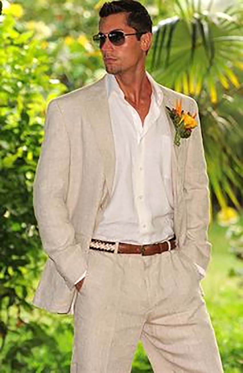 Summer Linen Custom Made Mens Suits For Wedding Tailored Groom Tuxedo Optional Half-Lined Business Suit Two Pieces(Jacket+Pants)