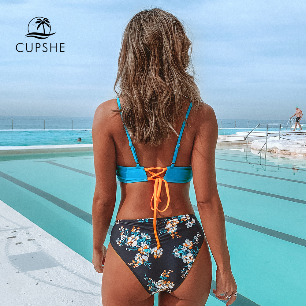 CUPSHE Colorblock and Floral Print Bottom Bikini Sets Sexy Lace Up Swimsuit Two Pieces Swimwear Women 2020 Beach Bathing Suits 1