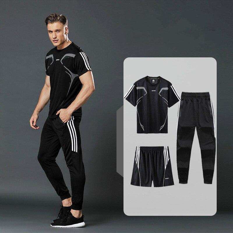3PCS/ Set Summer Men Set Sports Casual Two Pieces Suit Short Sleeve Male Streetwear Shorts Sets Tracksuit Man Short Sportswear