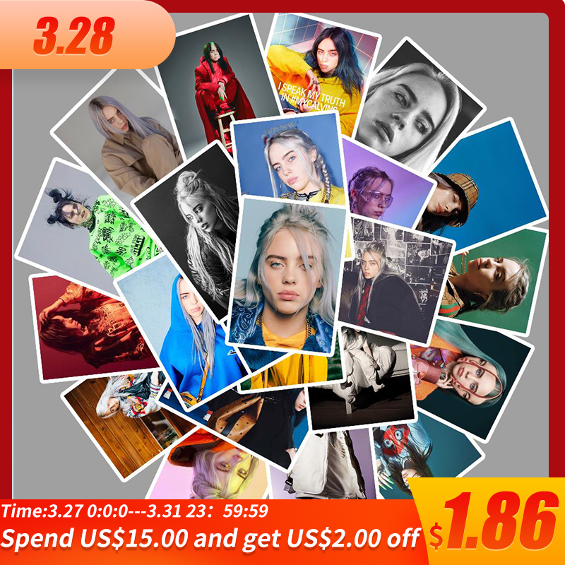 25pcs Famous Singer Billie Eilish Stickers For Car Laptop PVC Backpack Home Decal Pad Bicycle Waterproof Decal