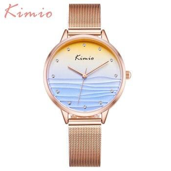KIMIO Ocean Blue 2020 Fashion Ladies Watches For Women Creative Rose Quartz Gold Watch Women Stainless Steel Mesh Wristwatches