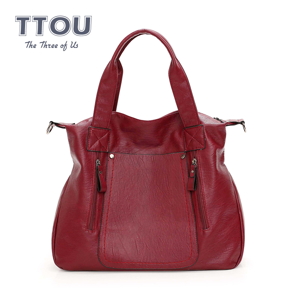 Famous Design Large Capacity Women Handbags Oil Wax Leather High Quality Ladies Travel Bags Ladies Casual Purses Zipper Tote Bag