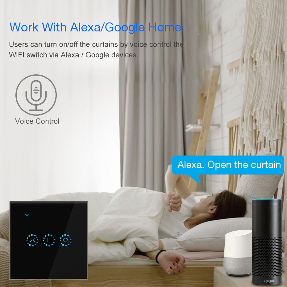 WiFi Electrical Blinds Switch Touch Smart Curtain Switch Voice Control By Alexa Google Home For Mechanical Limit Blinds Motor
