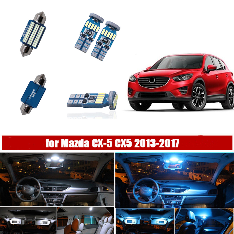 10pcs Auto Led Light Canbus for 2013 <font><b>2014</b></font> 2015 2016 2017 <font><b>Mazda</b></font> CX-5 <font><b>CX5</b></font> LED Interior Lights Replacement Package Kit White 12V image