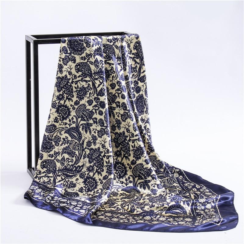 Fashion Paisley Print Kerchief Silk Satin Hijab Scarf For Women Square Shawls Wraps 90*90cm Bandana Head Neck Scarfs For Ladies