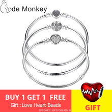 CodeMonkey Hot Sale 100% Real Sterling Silver Original Bracelet Fit Pandoras Beads Charms DIY Jewelry Gift For Women CMC902(China)