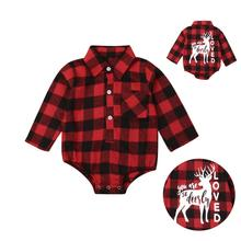 Christmas Newborn Baby Boys Girls Rompers Infant Long Sleeve Red Plaid Jumpsuit Xmas Deer Playsuit Autumn Winter Baby Clothes недорого
