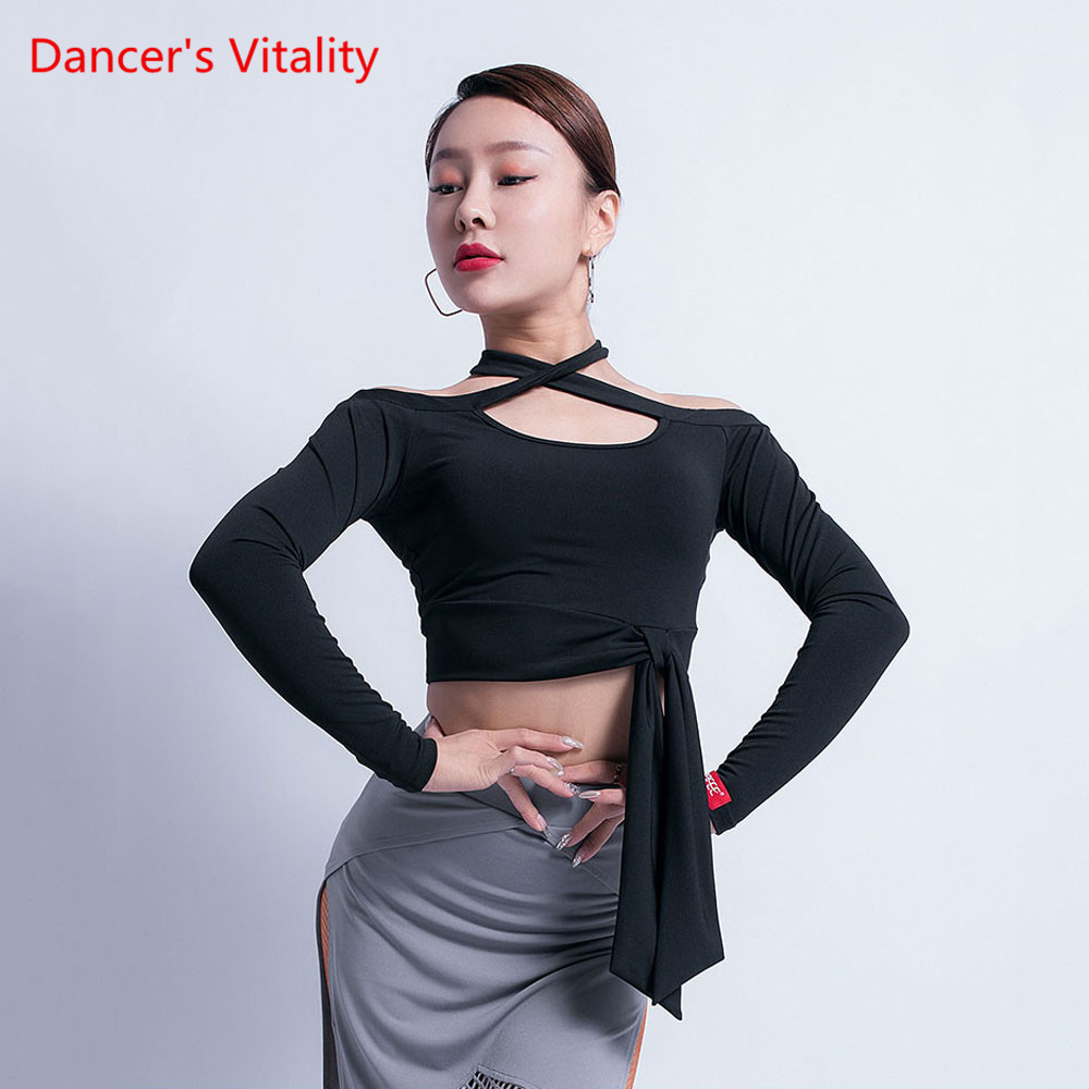 Latin Dance Performance Costume Female Adult Temperament Top New Competition Training Clothes Long-Sleeved Shirt