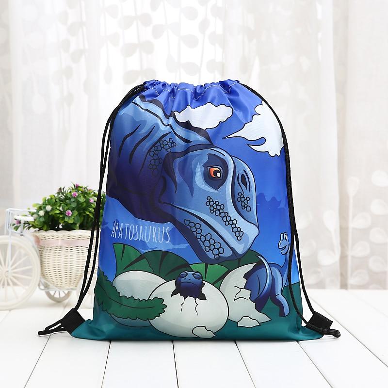 New Drawstring Dinosaur Tyrannosaurus Rex Backpack Fashion Women 3D Printing  Knapsack Men Casual Bags Unisex Women's Shoulder
