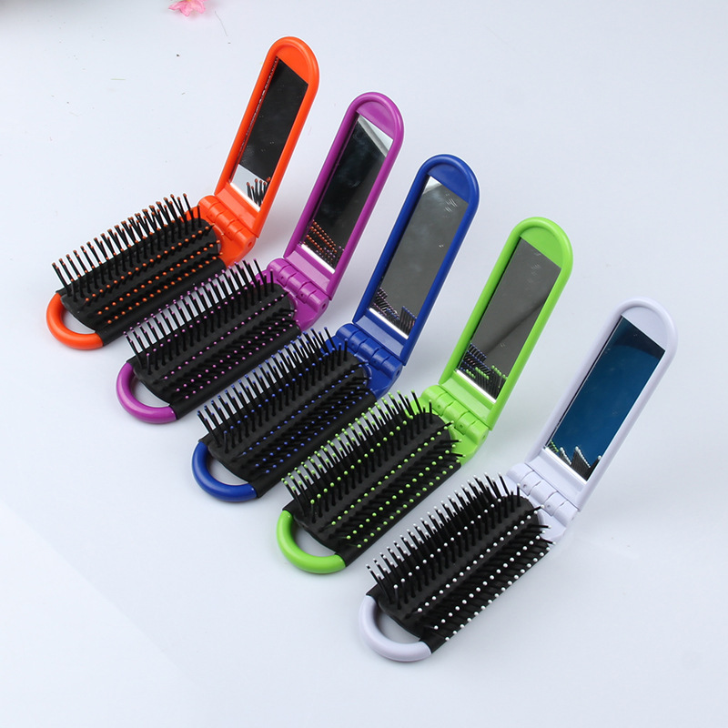 Magic 4 Colors Professional Travel Hair Comb Portable Folding Hair Brush With Mirror Compact Pocket Size Purse Travel Comb