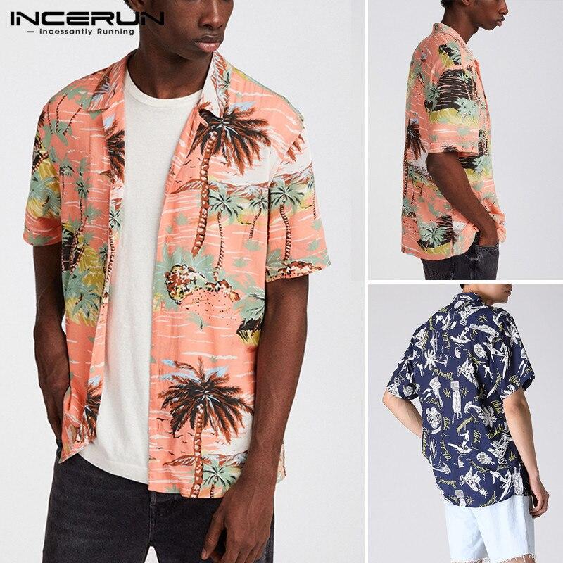 INCERUN Men Printed Shirts Short Sleeve Lapel Loose Shirt Hawaiian Holiday Beach Blouse Casual Breathable Tops Streetwear S-3XL7