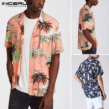 INCERUN Männer Gedruckt Shirts Kurzarm Revers Lose Hemd Hawaiian Urlaub Strand Bluse Casual Atmungsaktive Oberteile Streetwear S-3XL7