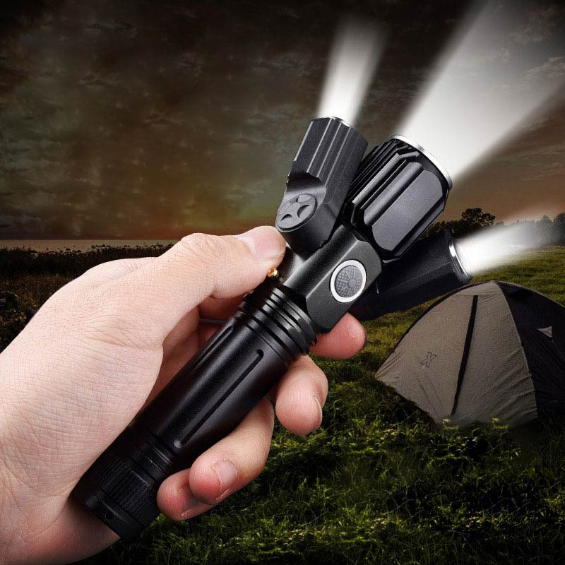 BRELONG Portable Multi-function Flashlight Dimmable Aluminum Three-head Adjustable Wide Angle Suitable For Hiking Trekking