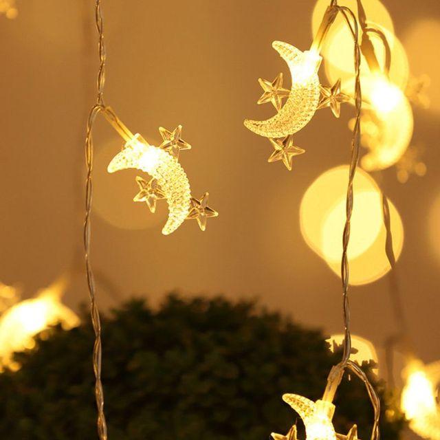 1.5m 3 סגנונות עיד מובארק אור מחרוזת ירח כוכב LED הרמדאן מנורת פנס מוסלמי תפאורה