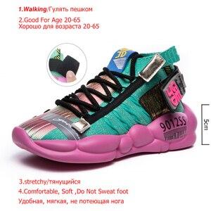 Image 2 - Fujin Womens Sneaker Knitting Breathable Shoe Chunky Platform Sneakers Soft 2020 Spring Summer Sock Women Vulcanized Shoes