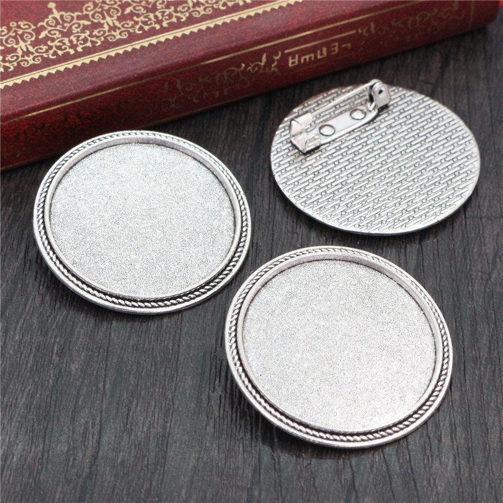 5pcs 30mm Inner Size Antique Silver Plated Brooch Pin Classic Style Cabochon Base Setting (B6-10)