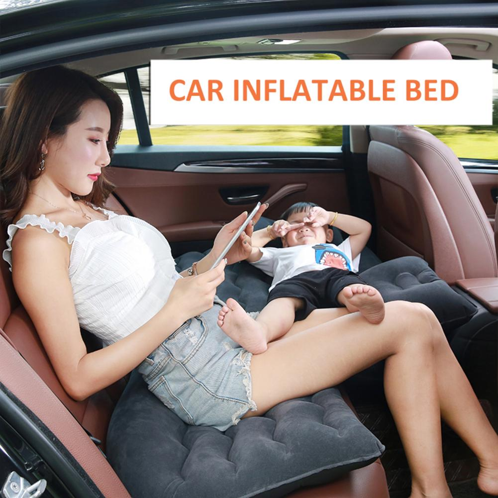7PCs Portable Car Air Mattress with Pump Travel, Camping, Vacation | Back Seat Blow-Up Sleeping Pad mattress in the car image