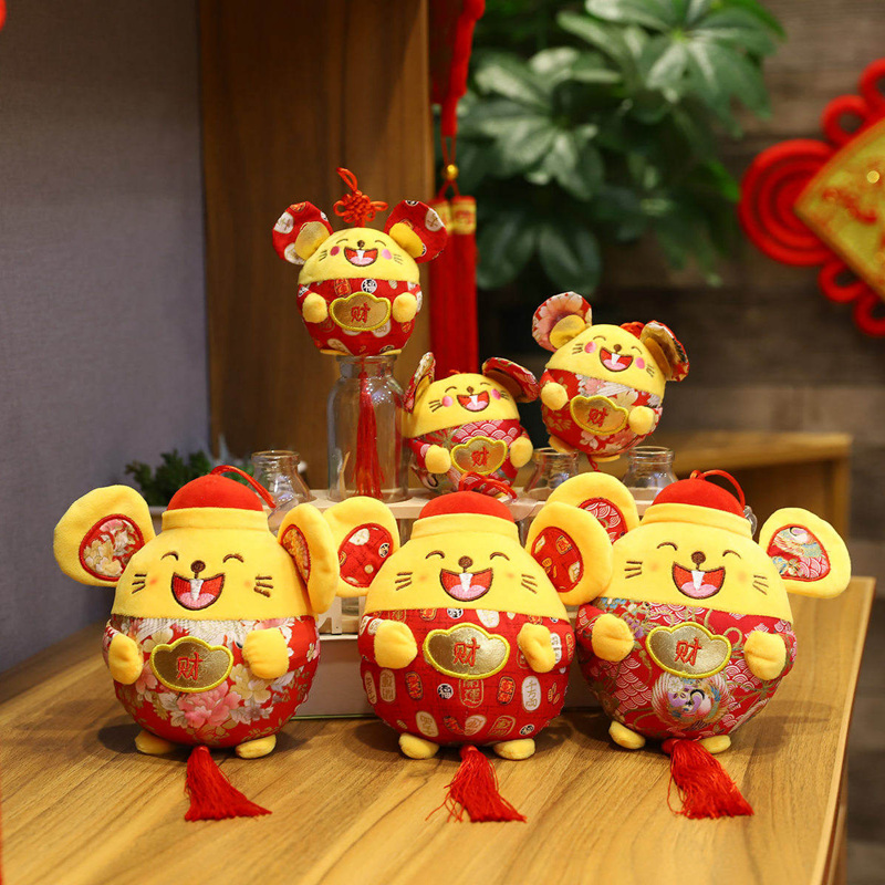 2020 Rat Year Lovely China Dress Mascot Rat Pendant Plush Mouse In Tang Suit Soft Toys Chinese New Year Party Decoration Gift