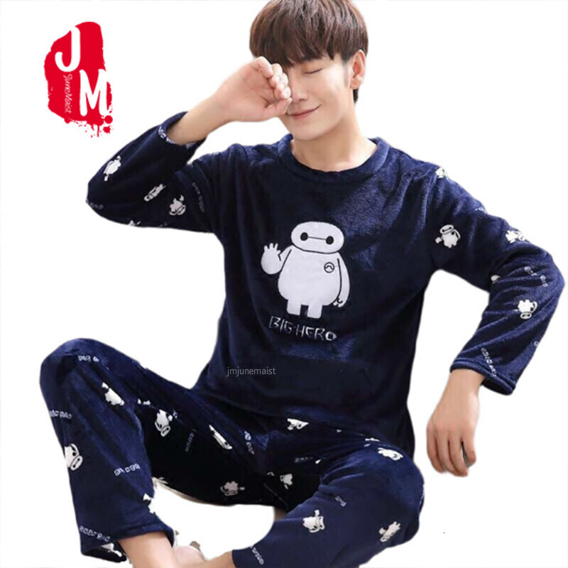 Winter Thick Warm Blue Flannel Pajama Sets For Men Long Sleeve Coral Velvet Sleepwear Suit Loungewear Homewear Home Clothes