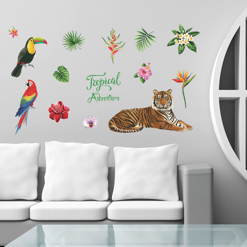 Tiger Parrot Flowers Wall Sticker For Home Decoration Diy Kids Room Bedroom Animal & Plant Wall Art Pvc Nursery Decal