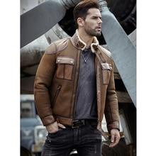 Мужское пальто из овчины, натуральная кожа, B3, куртка-бомбер, Ретро стиль, Авиатор, верхняя одежда, Тренч, серый, зимняя, Толстая куртка