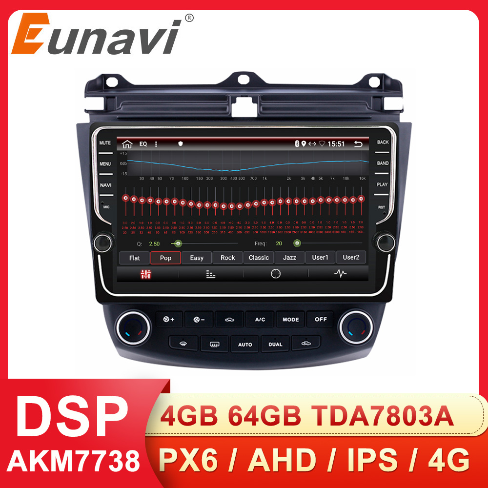 Eunavi 2 din Car Multimedia <font><b>Radio</b></font> Player <font><b>Android</b></font> system For <font><b>Honda</b></font> <font><b>Accord</b></font> 7 2003-2007 Auto stereo GPS Audio 4G 64GB WIFI NO DVD image