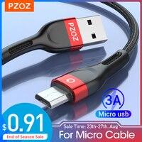 PZOZ cable micro usb carga rapida 3A de datos cargador de microusb de carga rapida para Samsung S7 Xiaomi Redmi Note 5 Pro 4 redmi 4X 5 mas tabletas LG Huawei Telefono movil Android Cables micro usb 0.25M 0.5M 1M 2M