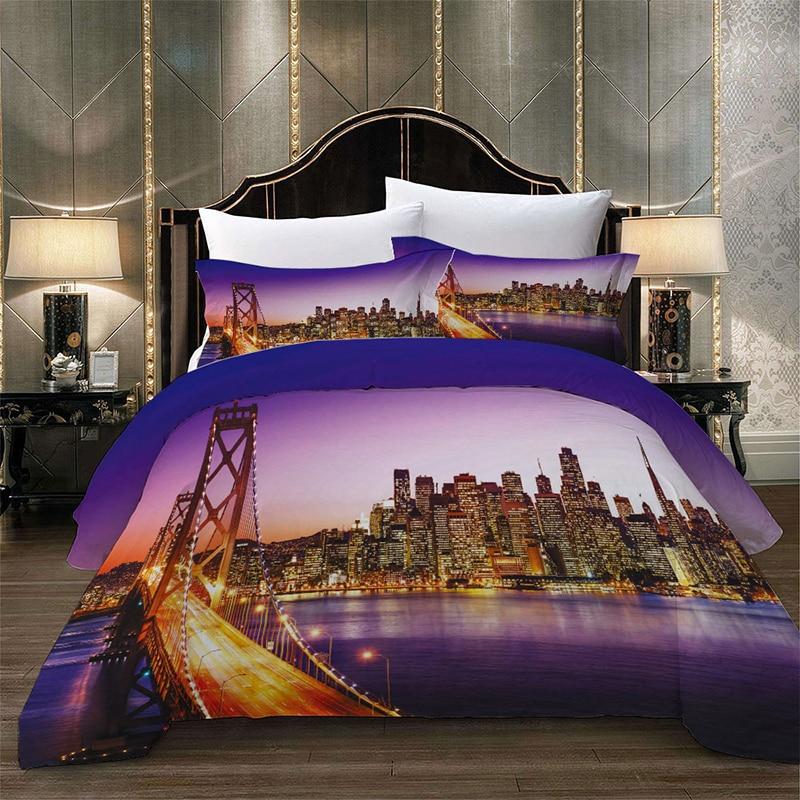 San Francisco  paesaggio di notte set di biancheria da letto