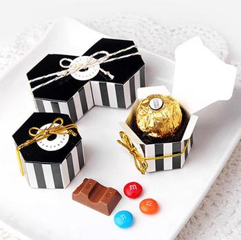Black Strip/Dots Chocolate Box Favor Boxes Candy Paper Boxes Cardboard Gift Wraping Bonbonnieres image
