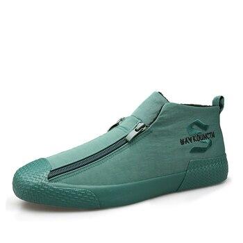 Invierno nieve zapatos moda cremallera con piel zapatos de goma Hombre pisos...