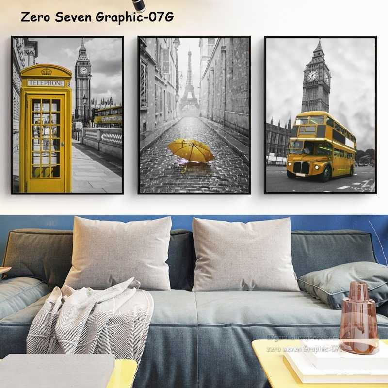 City Street Landscape Yellow Phone Booth Umbrella Bus Canvas Art Painting Print Poster Picture Wall Living Room Home Decor Mural