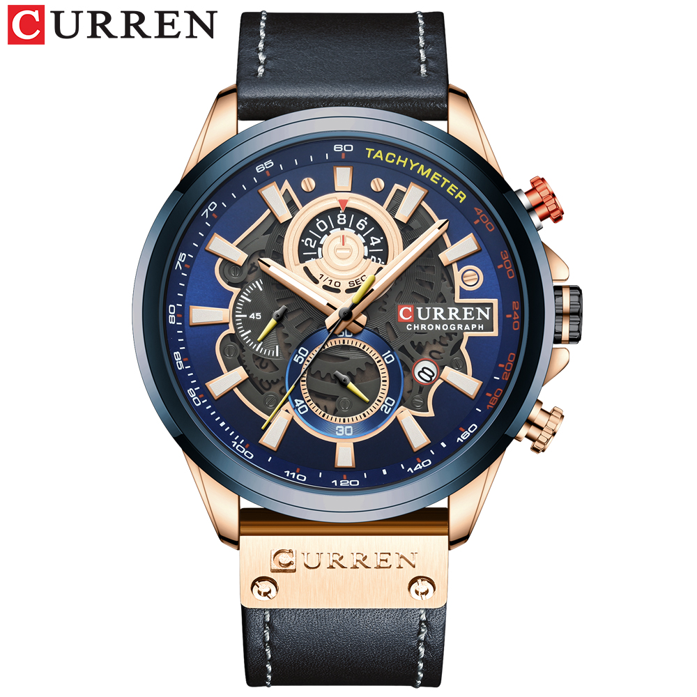 NEW CURREN Fashion Sport Watch Men Blue Top Brand Luxury Military Leather Wrist Watches Man Clock Casual Chronograph Wristwatch 2