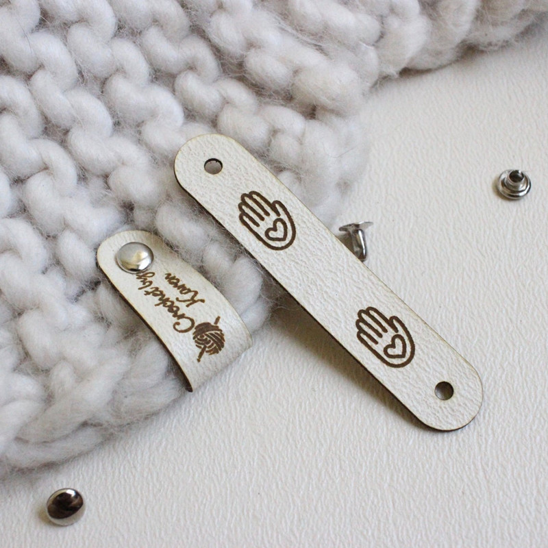 30pcs Handmade leather tags with rivets Custom sewing labels for clothes knitting Folding brand logo garment crochet care label