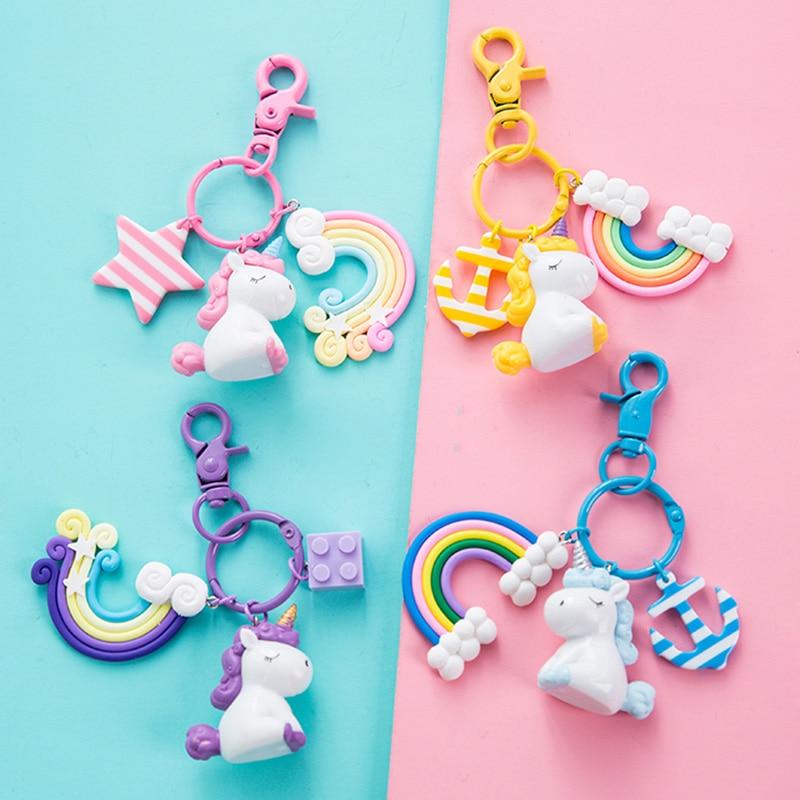 US $0.99 20% OFF|Plastic Silicon Kawaii Unicorn Key Pendant Keyring Plush Toys For Kids Girls Gift Bag Pendant Peluche Licorne Anchor Rainbow-in Stuffed & Plush Animals from Toys & Hobbies on AliExpress