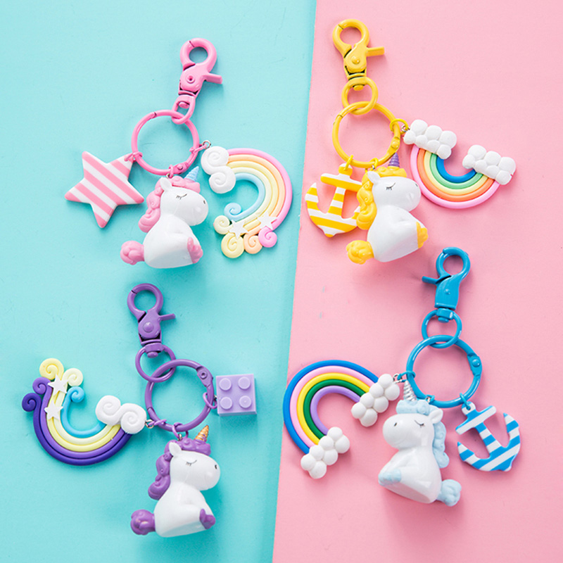 Plastic Silicon Kawaii <font><b>Unicorn</b></font> Key Pendant Keyring Plush <font><b>Toys</b></font> <font><b>For</b></font> Kids <font><b>Girls</b></font> Gift Bag Pendant Peluche Licorne Anchor Rainbow image