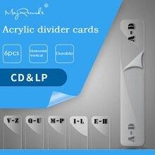 Conjunto de cartões de índice do alfabeto, 6 peças, cd, canções giratórias, organizadores de vinil, cartões de gravação de cd & lp