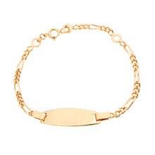 Kein Name Gold Kinder Armbänder Baby Schmuck Taufe Armband Pulsera Bebe Figaro Kette Armband Kinder Armband Brazalete B0127