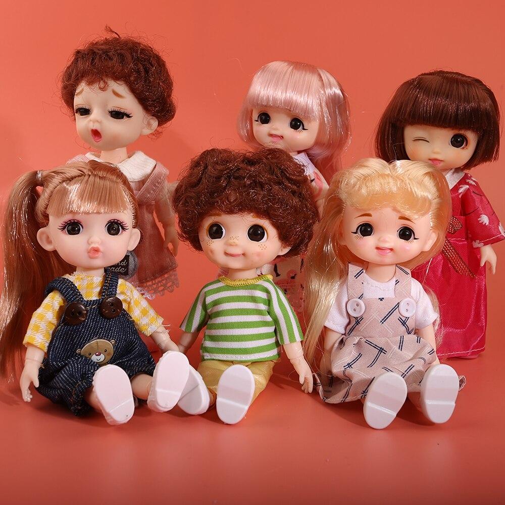 16cm Beauty Girl BJD Doll 13 Moveable Joint Dolls Long Hair 3D Eyes bjd Toy Little Girl Dress Up Make Up Toys Girls Gift Dolls