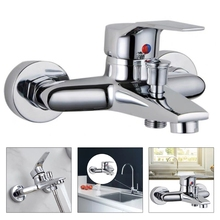 Triple Bathtub Hot and Cold Mixing Water Faucet Sink Spray Shower Head Deck Taps