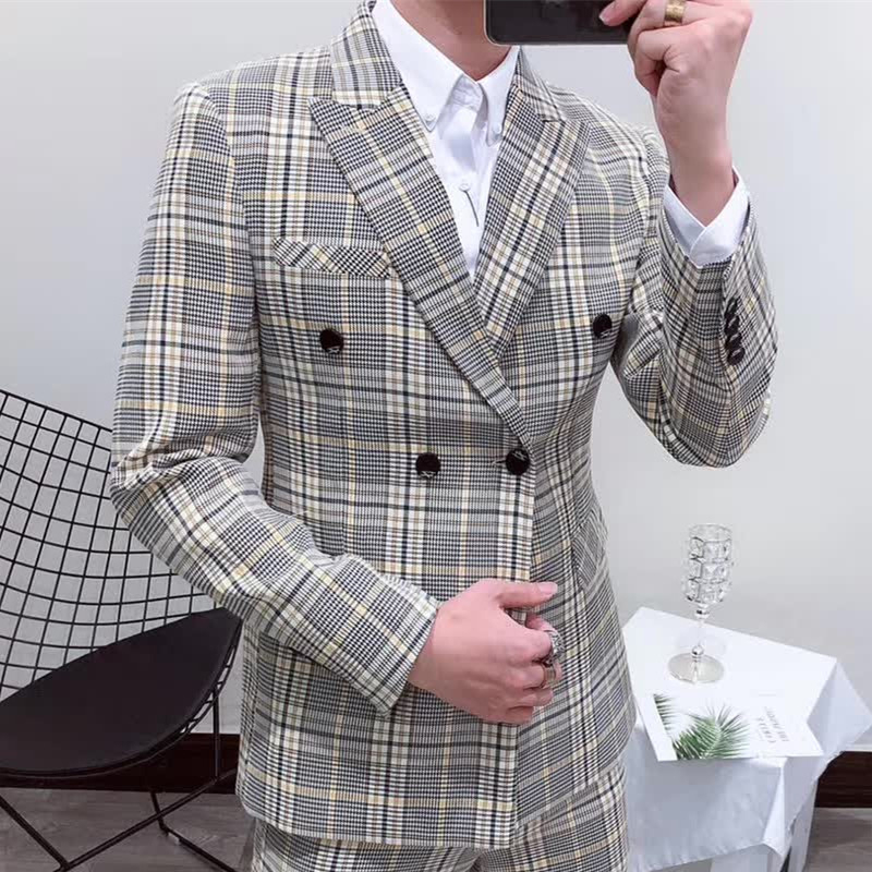 Luxury Plaid Blazer Men 2019 New Fall Anzug Herren Vestito Uomo Smoking Suit Male Checked Designer Pattern Blazer Men